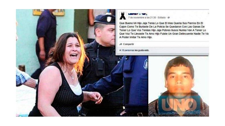 El polémico homenaje de una madre a su hijo: Te amo, fuiste un gran delincuente