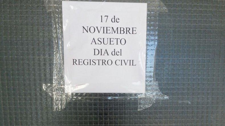 Por el Día Nacional del Registro Civil, sin atención al público