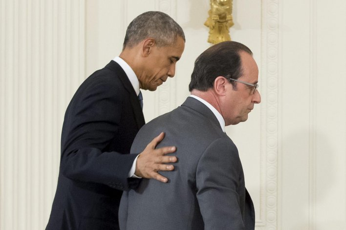 Reunión entre Barack Obama y François Hollande.