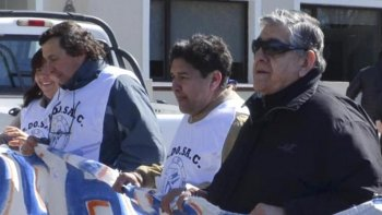 Tres de los cuatro imputados, que hace pocas semanas encabezaron una marcha de protesta frente al Juzgado Federal: Omar Latini, Daniel Gómez y Alberto Francés.