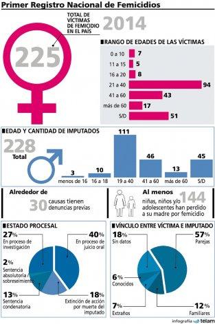 En 2014 hubo 225 femicidios, según el Primer Registro Nacional sobre el tema