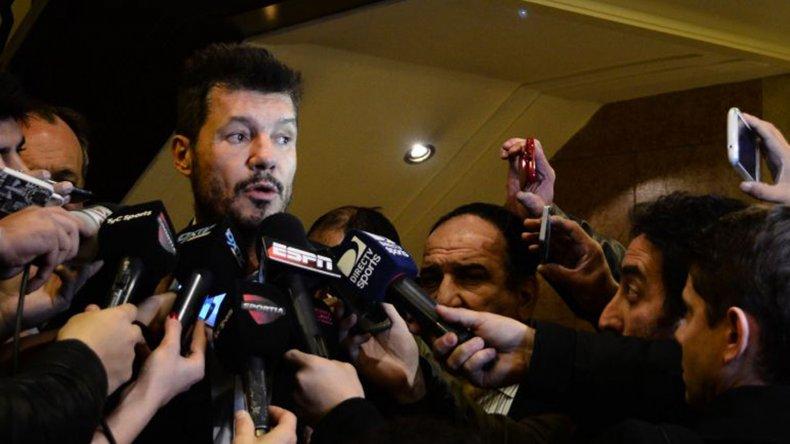 Marcelo Tinelli dialoga con los medios periodísticos en el Monumental.