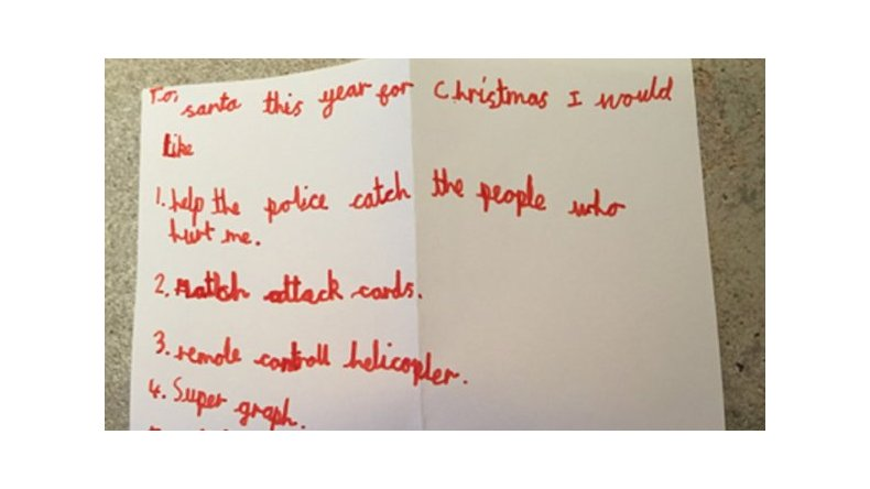 Pedido especial a Papá Noel: ayudá a atrapar a quienes me hirieron