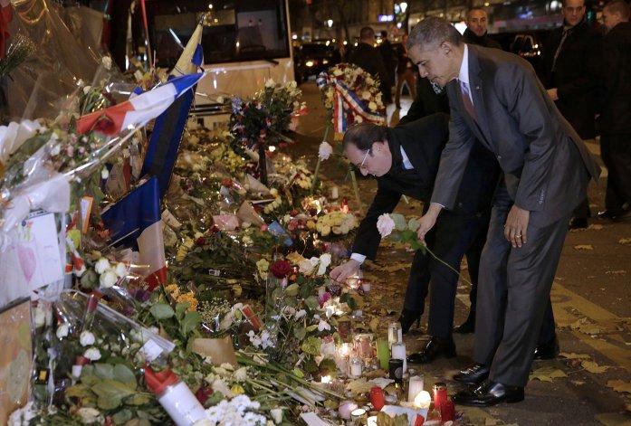 Obama visitó junto a Hollande uno  de los sitios de los ataques del 13-N
