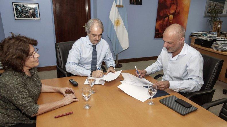 La reunión de Martín Buzzi con Germán Nivello ayer en Buenos Aires.