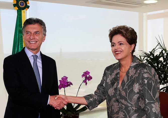 Reunión entre Dilma Rousseff y Mauricio Macri en Brasil.