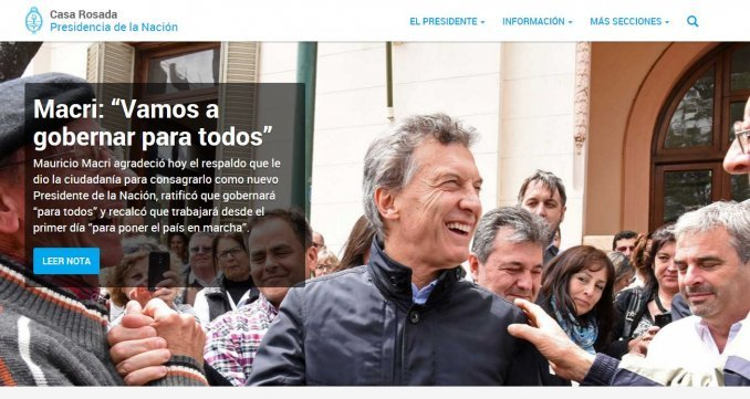 Ya está disponible la nueva página de la Casa Rosada