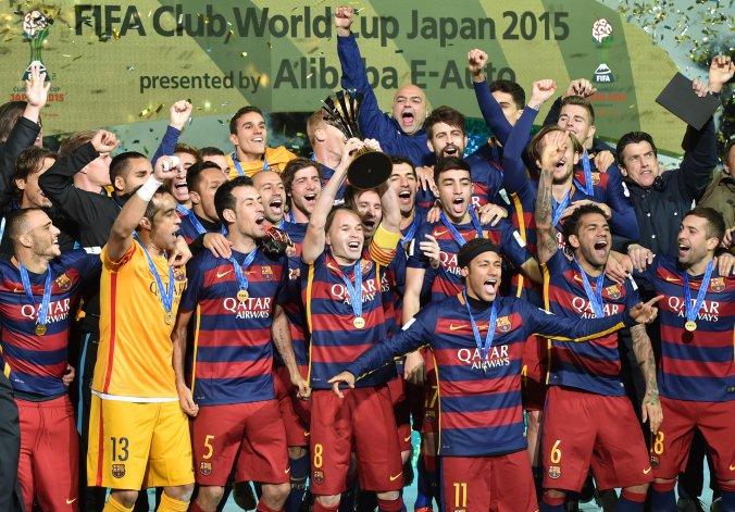El poderoso Barcelona festeja la conquista de su tercer Mundial de Clubes.