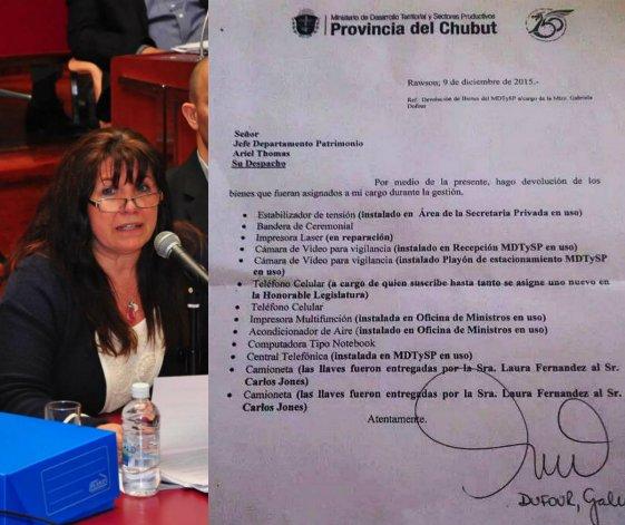 Dufour certifica la devolución del celular y dos camionetas