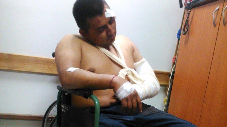 Vivo de milagro. A Gerardo Ramallo lo golpearon con un fierro en la cabeza; le robaron el arma y lo hirieron en el brazo.