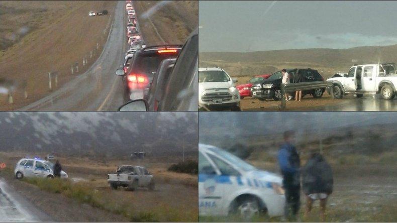 Fotos enviadas por Debbie del choque y la detención en Rada Tilly.