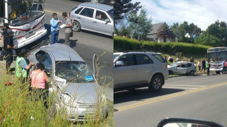 Chocó contra un colectivo y se cruzó de carril  en la curva del Chalet Huergo