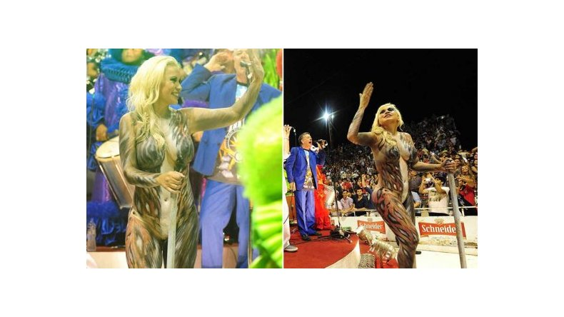 El body painting de Verónica Ojeda encendió el Carnaval de Gualeguaychú