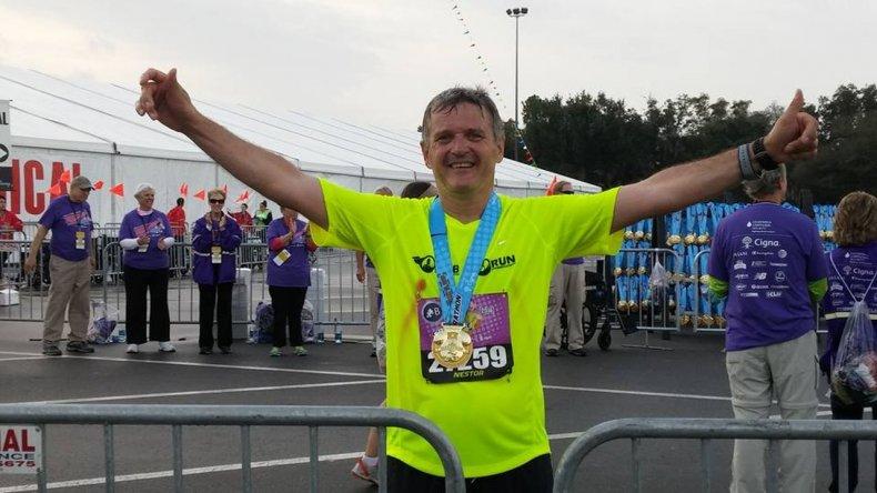 Un comodorense corrió una maratón en Disney