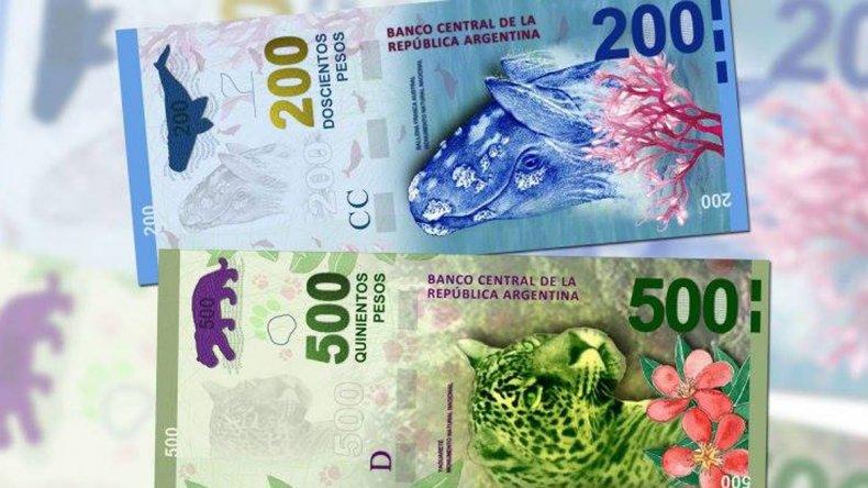 Los nuevos billetes de 200 y 500 pesos.
