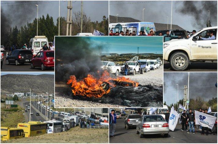 Trabajadores petroleros en el segundo día de panfleteada