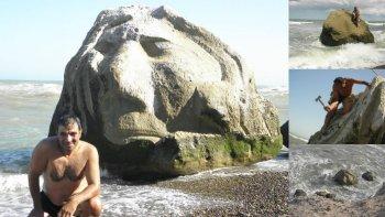 Un chubutense hace esculturas en las playas de la Patagonia