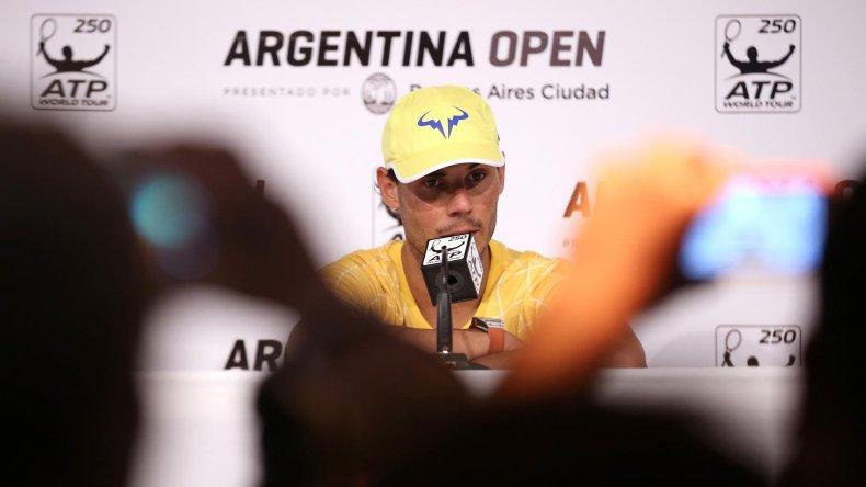 Rafael Nadal durante la conferencia de prensa que brindó ayer en Buenos Aires.