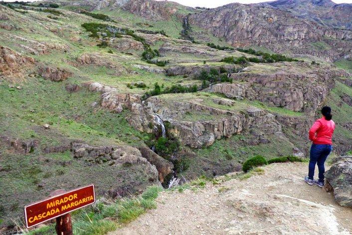 En Cascada Margarita se encuentra el mirador panorámico más accesible ya que está a media hora de caminata desde El Chaltén.