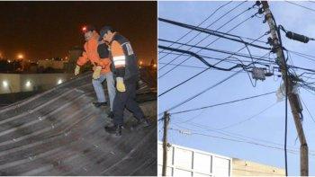 rafagas de 100 km/h: se volo un techo y se cortaron cables