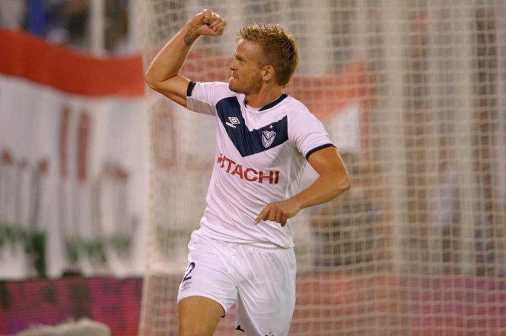 El defensor Cristian Nasuti viene de marcar un gol en el triunfo de Vélez ante Olimpo en Liniers.