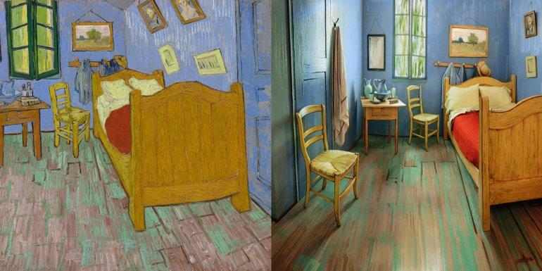 En 1888 el artista holandés Vincent Van Gogh pintó el que sería uno de sus cuadros más célebres y reconocidos: El dormitorio en Arlés (izquierda). Hasta marzo los amantes del arte podrán dormir en una habitación que recrea la obra (derecha).