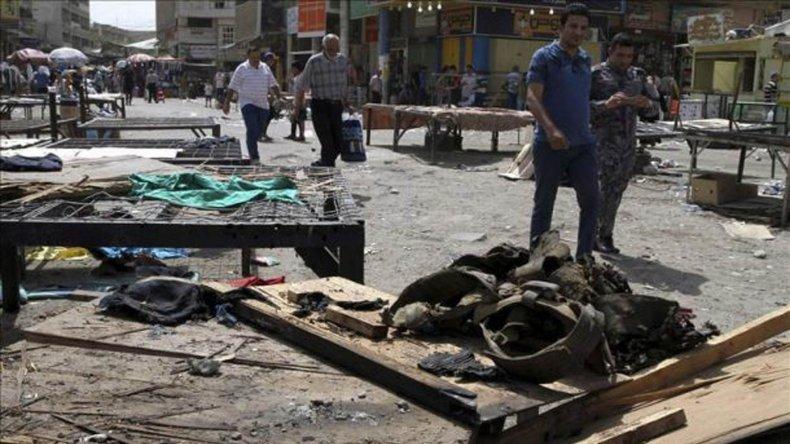 El escenario del doble atentado con bomba en el centro de Bagdad.