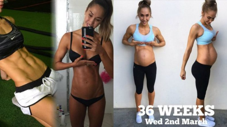 Una modelo de fitness sorprendió con su pancita de nueve meses