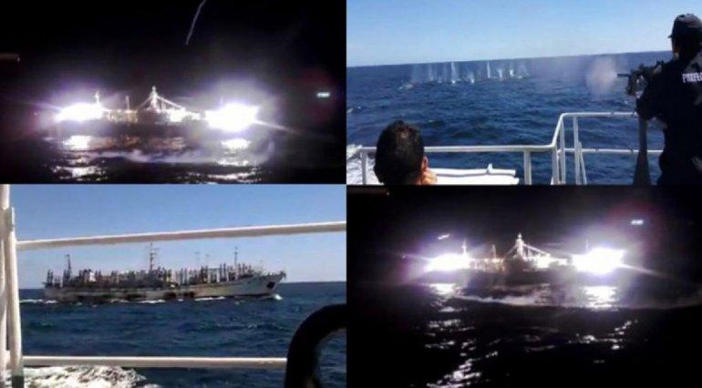 Imágenes de la persecución de Prefectura al buque infractor.