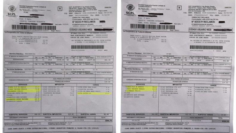 La factura con las tarifas vigentes hasta el 31 de marzo./La factura para el mismo consumo que vencerá en abril.