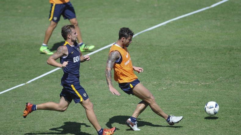 Daniel Osvaldo durante un entrenamiento del plantel de Boca