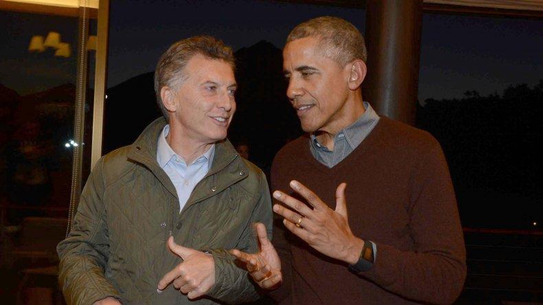 Mauricio Macri junto a Barack Obama en Bariloche el jueves durante el último día de visita del presidente de EE.UU.