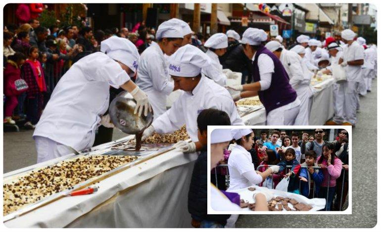 Bariloche hizo la barra de chocolate más larga del mundo