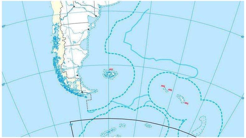 En forma interlineada se observa la demarcación actual de los límites marítimos y en línea continua se aprecia cómo quedará con el fallo de la ONU.
