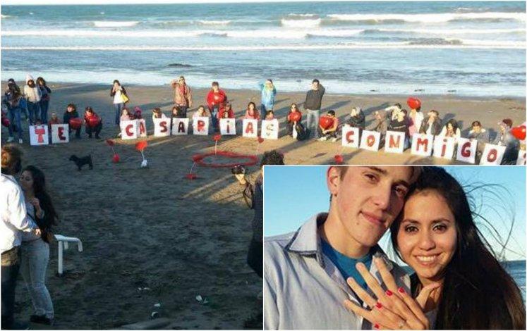 ¿Te casarías conmigo? La original propuesta de una joven de 21 años en la playa