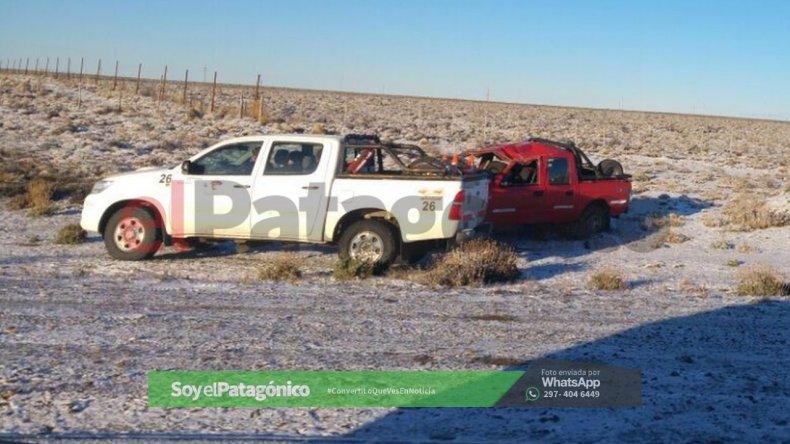 Se registraron las primeras nevadas y hubo dos vuelcos en Pampa del Castillo