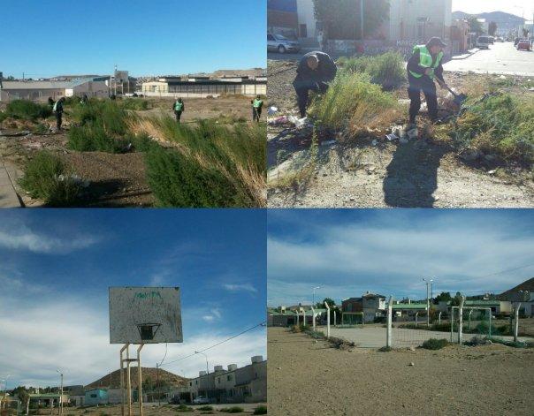 Vecinos y miembros de Policia Comunitaria intentan recuperar lo que fue la plaza del Isidro Quiroga.