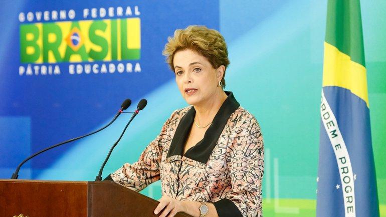 Dilma Rousseff durante su conferencia de prensa.
