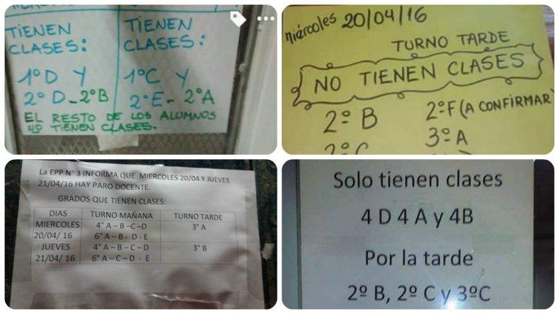 Estos son los carteles que pegan los docentes en los diferentes establecimientos