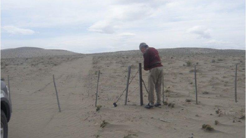 La desertificación avanza en los campos de la costa este del lago Colhué Huapi.