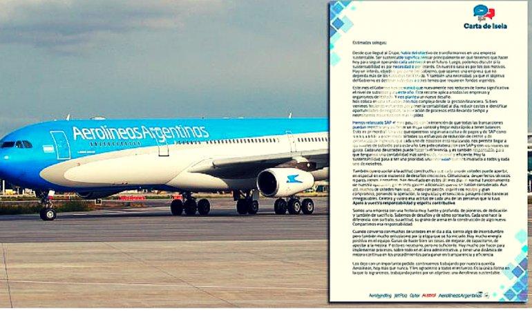 La carta de la titular de Aerolíneas a los empleados