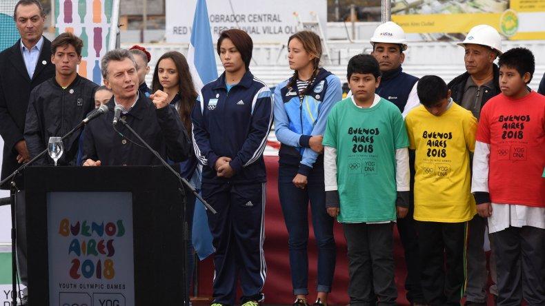 Macri descubrió la Piedra Fundacional de la Villa Olímpica de la Juventud de Buenos Aires 2018.