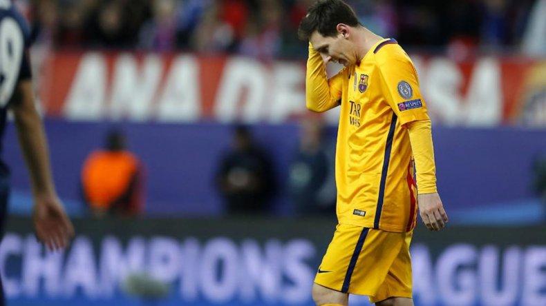 Leo Messi y toda su desazón tras quedar eliminado de la Liga de Campeones ante el Atlético de Madrid.