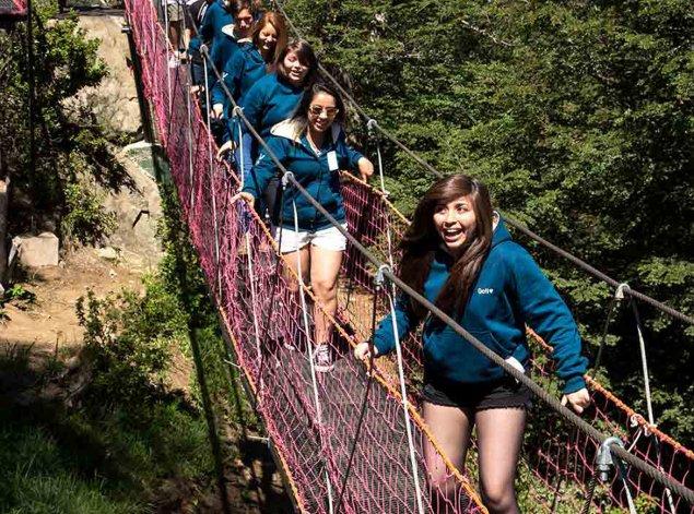 El Puente Colgante permite cruzar unos 35 metros por entre medio del frondoso bosque de lengas