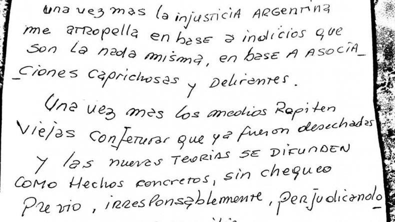 La carta que Daniel Lagostena dirigió a la Justicia a través de sus abogados.
