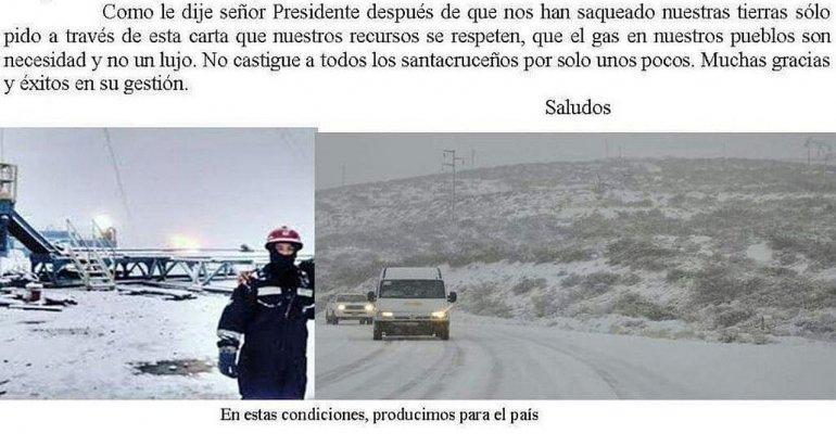 Mirá la carta que le escribió un petrolero a Macri
