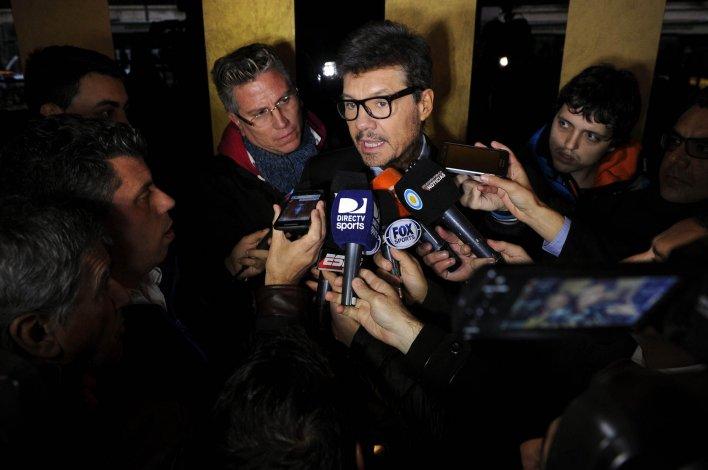 Marcelo Tinelli dialoga con los medios periodísticos de Buenos Aires.