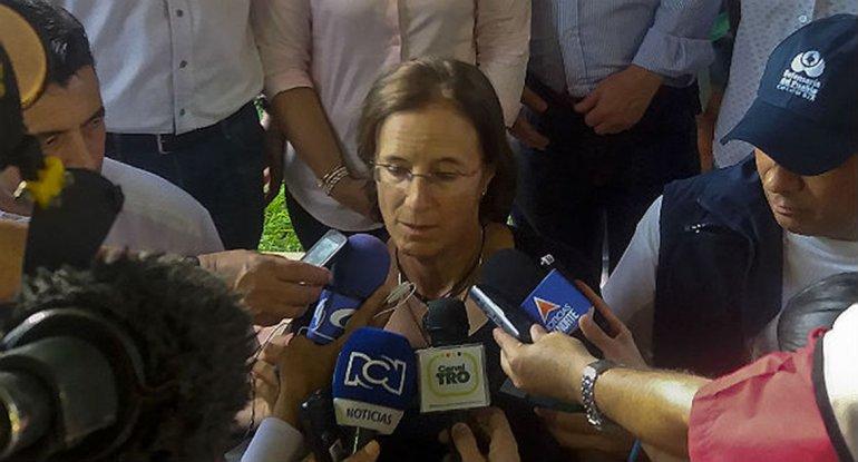 La periodista española Salud Hernández que fue liberada después de seis días.