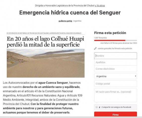 Más de mil personas firmaron para que se declare la emergencia hídrica