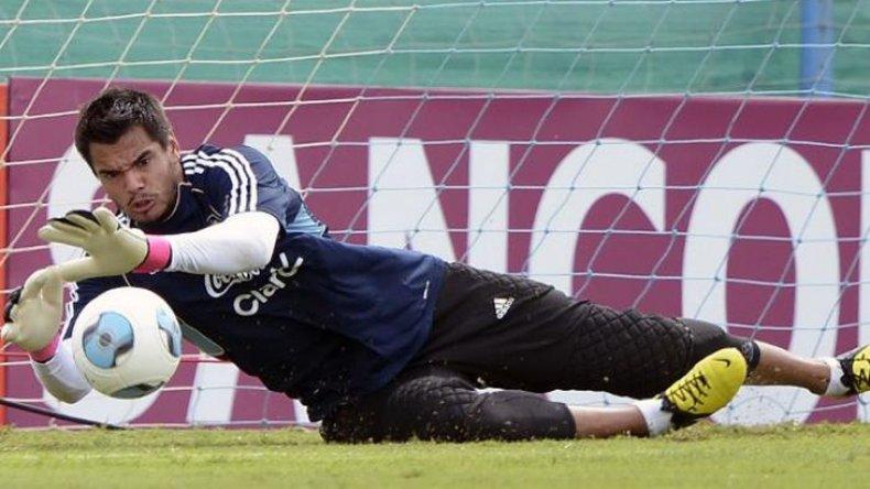 Sergio Romero durante un entrenamiento de la selección argentina de fútbol.